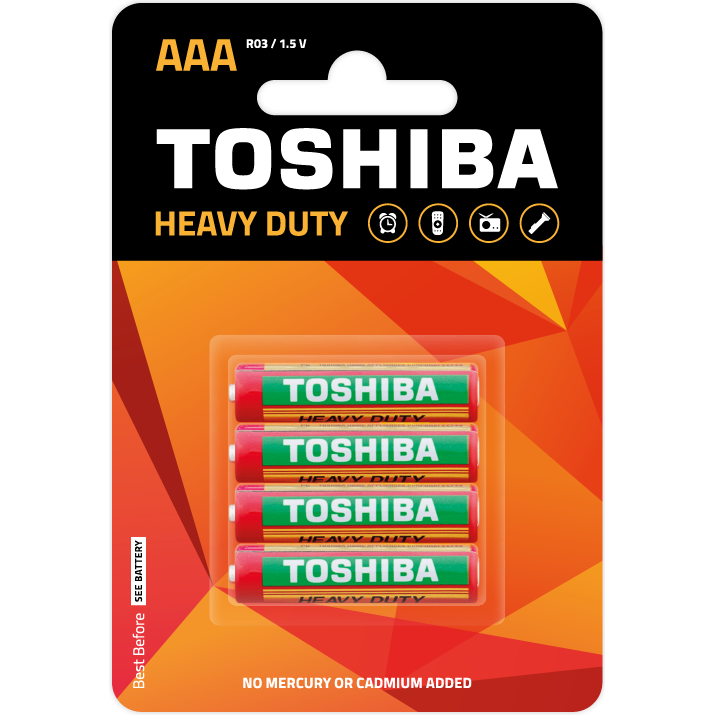 Батарейки TOSHIBA Heavy Duty R03/4BP AAA