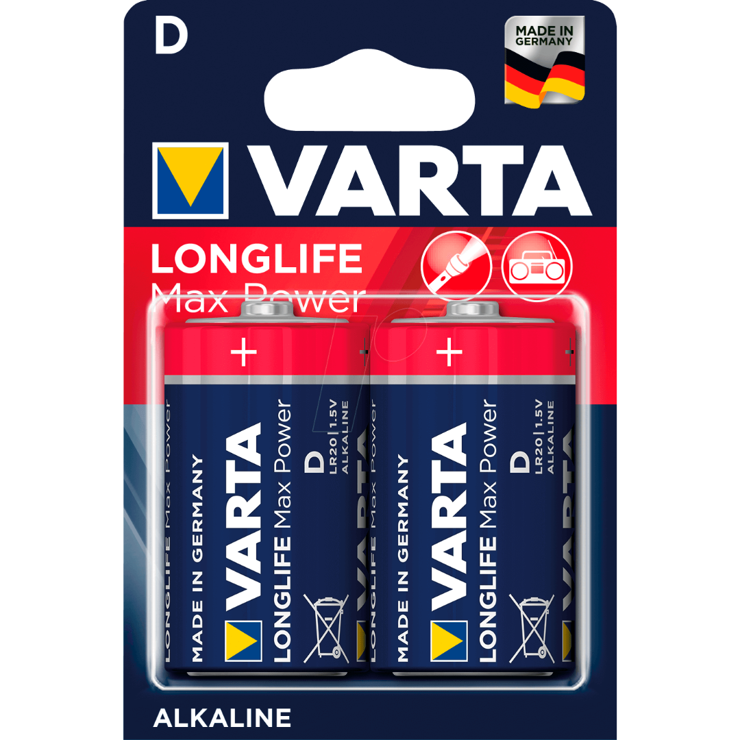 Батарейки VARTA LongLife Max Power LR20/2BP D
