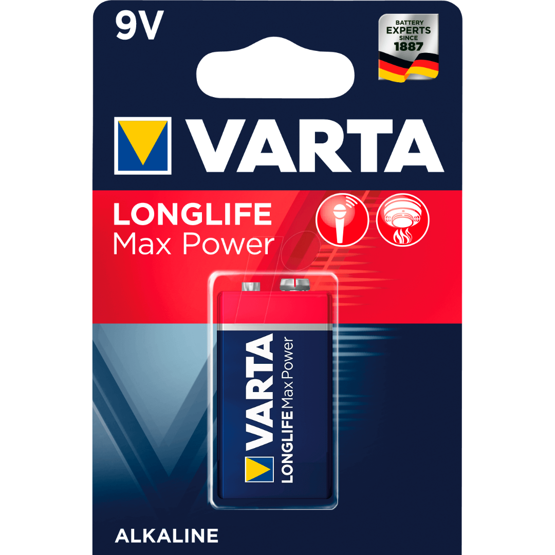Батарейки VARTA LongLife Max Power 6LR61 /1BP Крона