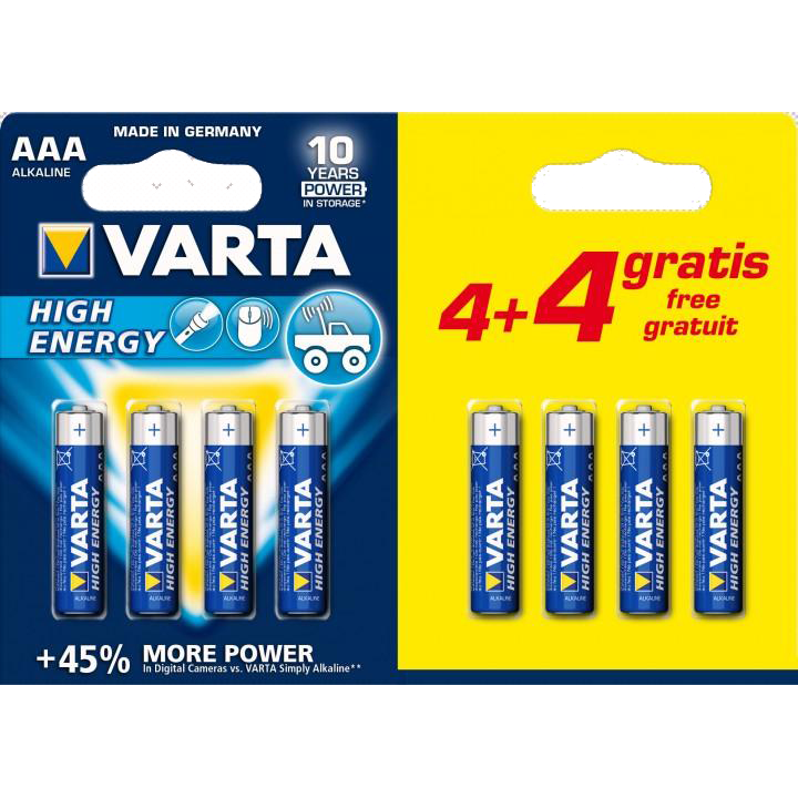 Батарейки VARTA High Energy LR03/8BP AAA