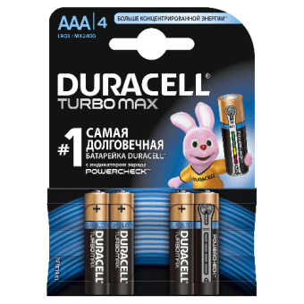 Батарейки DURACELL TurboMax LR03/MX2400 4BP AAA